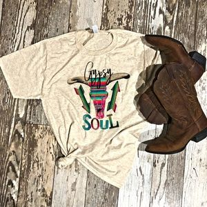 Gypsy Soul Bull Skull serape arrow shirt